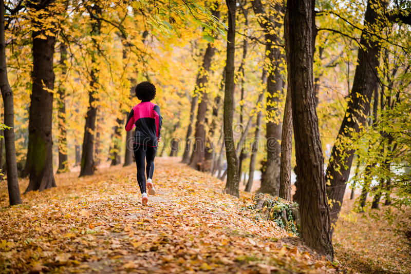 Fitness woman running in park, rear view. Rear shot of a jogger woman in an autumn park stock photography