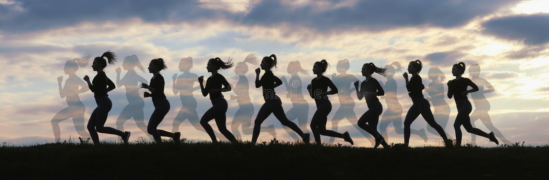 Fitness woman running on sunrise, Running silhouettes, Female runner silhouette stock photo