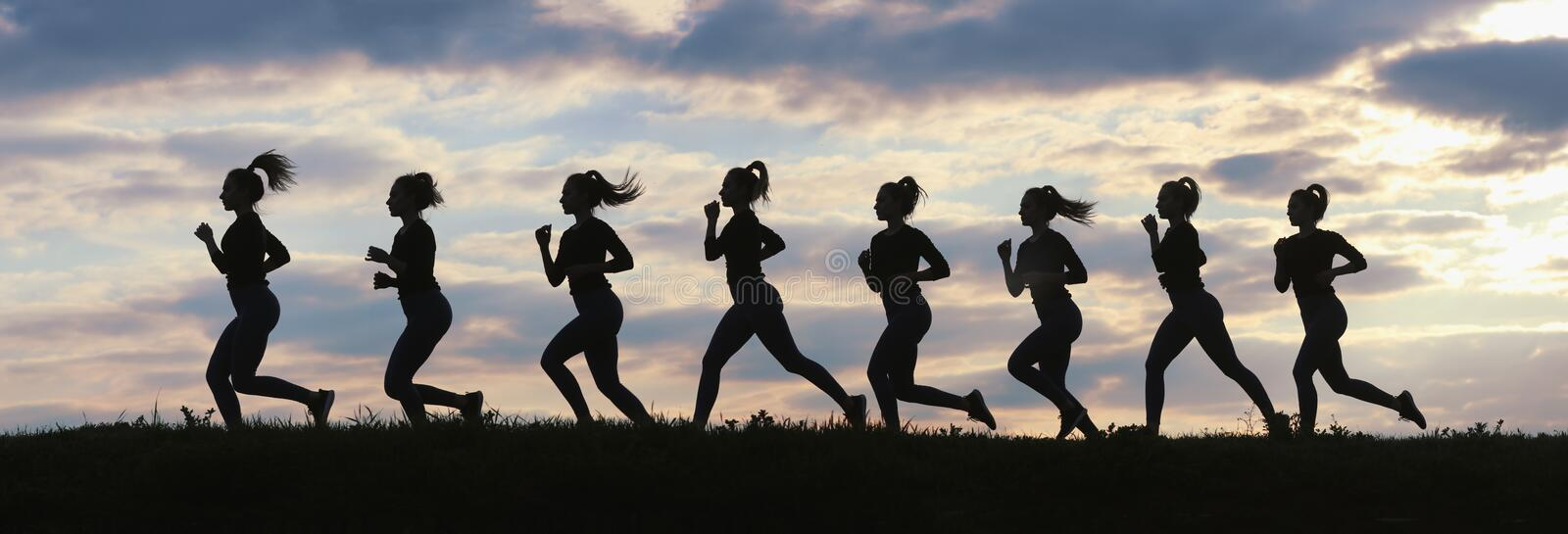 Fitness woman running on sunrise, Running silhouettes, Female runner silhouette royalty free stock images