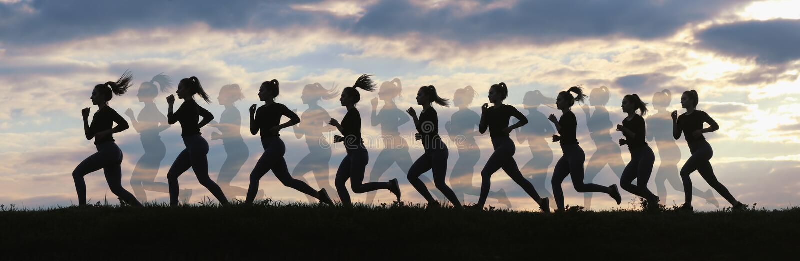 Fitness woman running on sunrise, Running silhouettes, Female runner silhouette royalty free stock photos