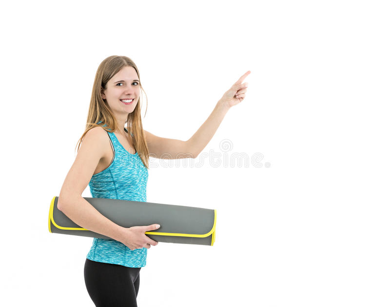 Fitness woman showing copy space royalty free stock photo