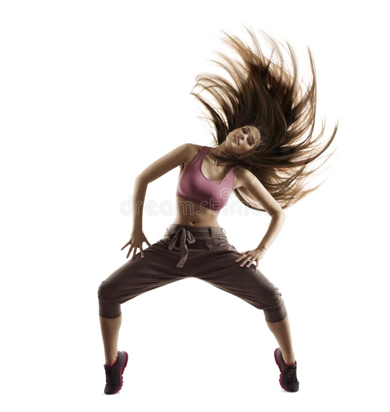 Fitness woman sport dance, dancing girl with flying hair on white. Fitness woman sport dance, girl with flying hair dancing breakdance, freestyle dancer isolated royalty free stock image
