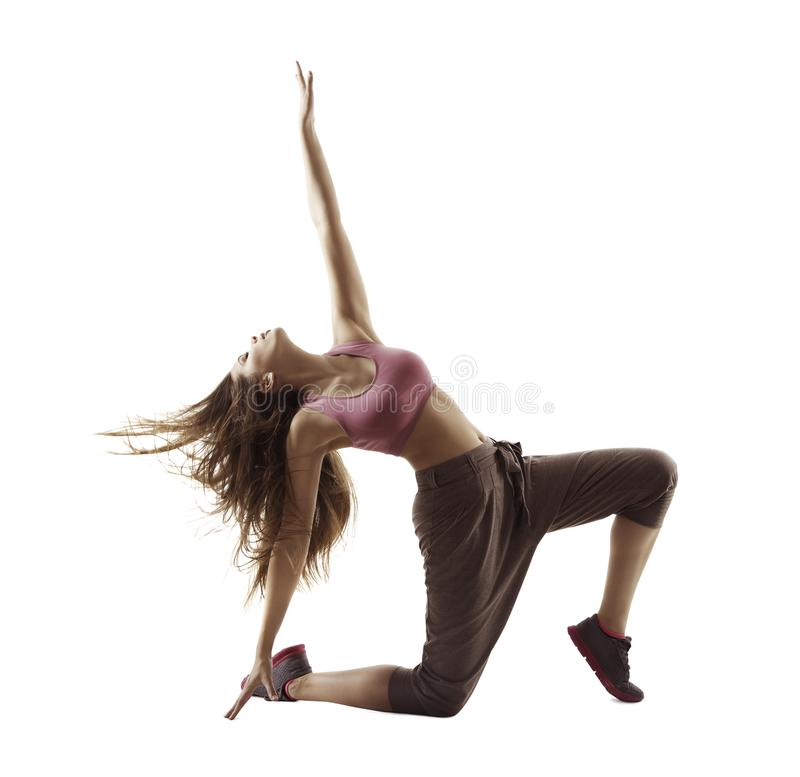 Fitness Woman Sport Dance, Girl Dancing Breakdance Gymnastic. Bending Freestyle Dancer Isolated over White background stock photography
