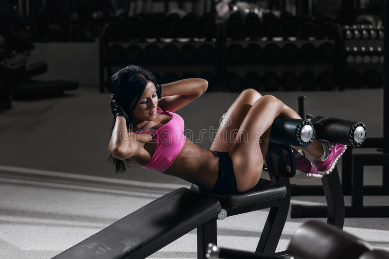 Fitness Woman In Sport Wear With Perfect Body In Gym Stock Photo