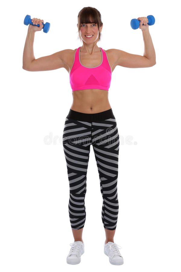 Fitness woman at sports workout training with dumbbells exercise royalty free stock photos