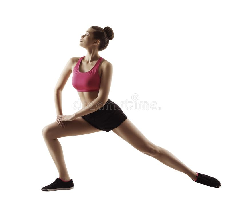 Fitness Woman Stretch Gymnastics Workout, Stretching Legs Sport. Exercise, People Isolated on White Background stock photo