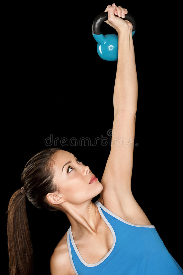Fitness Woman Training Crossfit With Kettlebell Royalty Free Stock Photo