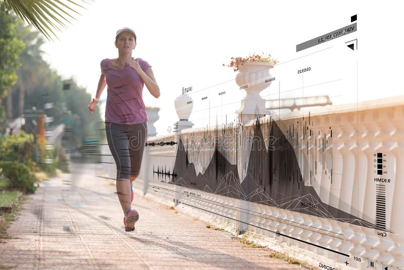 Fitness woman training and jogging royalty free stock images