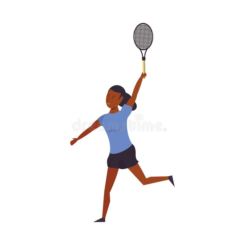 Fitness woman training tennis sport cartoon isolated vector illustration