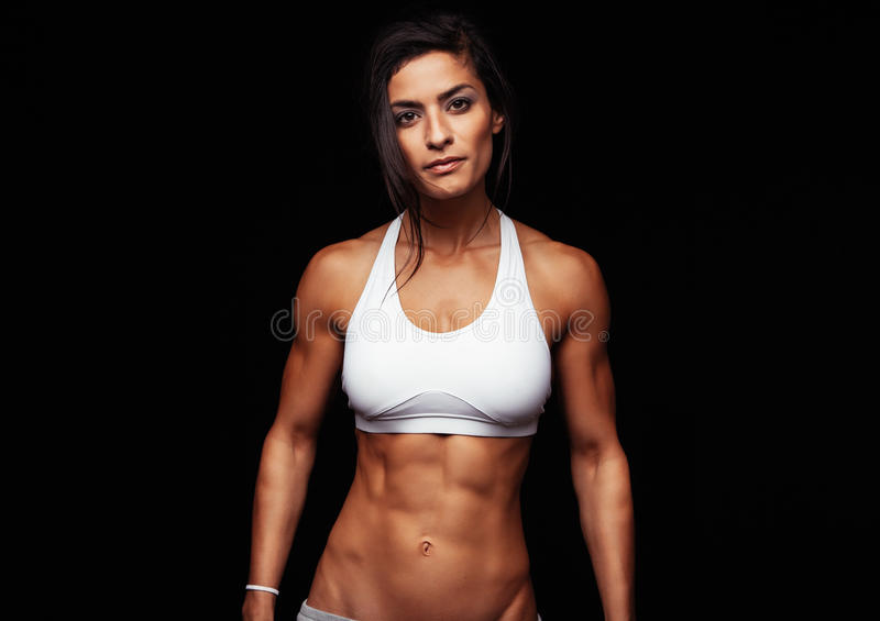 Fitness woman wearing sport bra royalty free stock photo