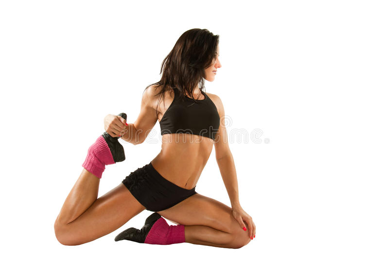 Fitness woman on yoga pose. Fitness woman make stretch on yoga pose on isolated white background stock image