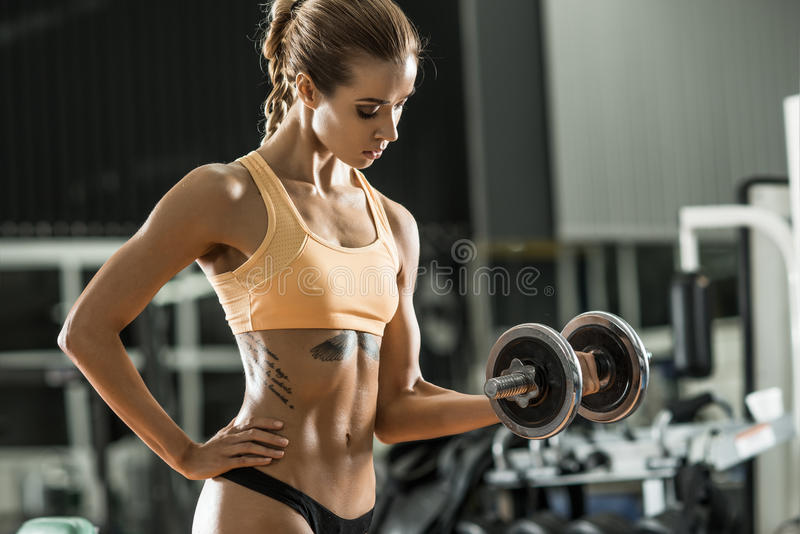 Fitness woman. Young fitness woman execute exercise with dumbbells in gym, horizontal photo stock photos