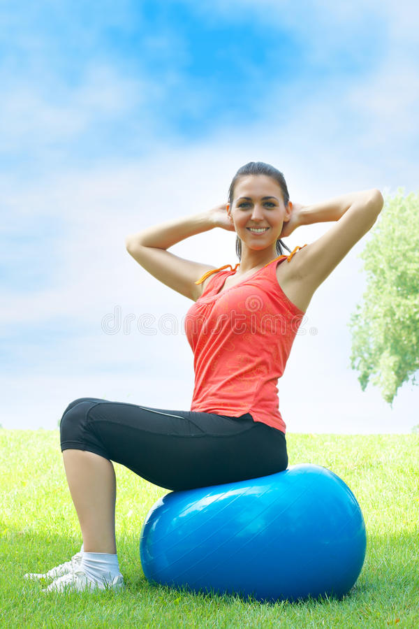 Download Fitness women stock photo. Image of ball, slim, health - 19910024