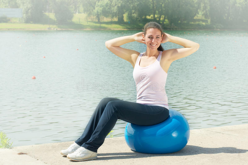 Download Fitness Women Exercising With Pilates Ball Stock Image - Image: 20098607