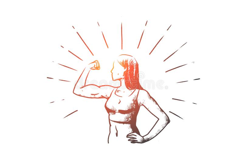 Fitness, women, healthy, sport concept. Hand drawn isolated vector. vector illustration