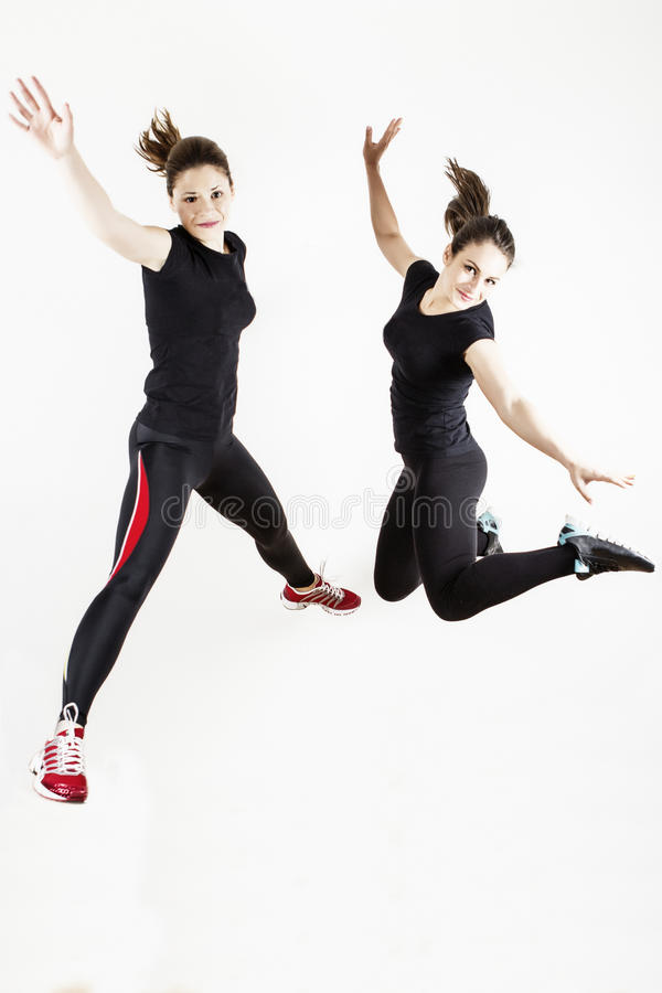 Fitness Women Jumping Royalty Free Stock Images