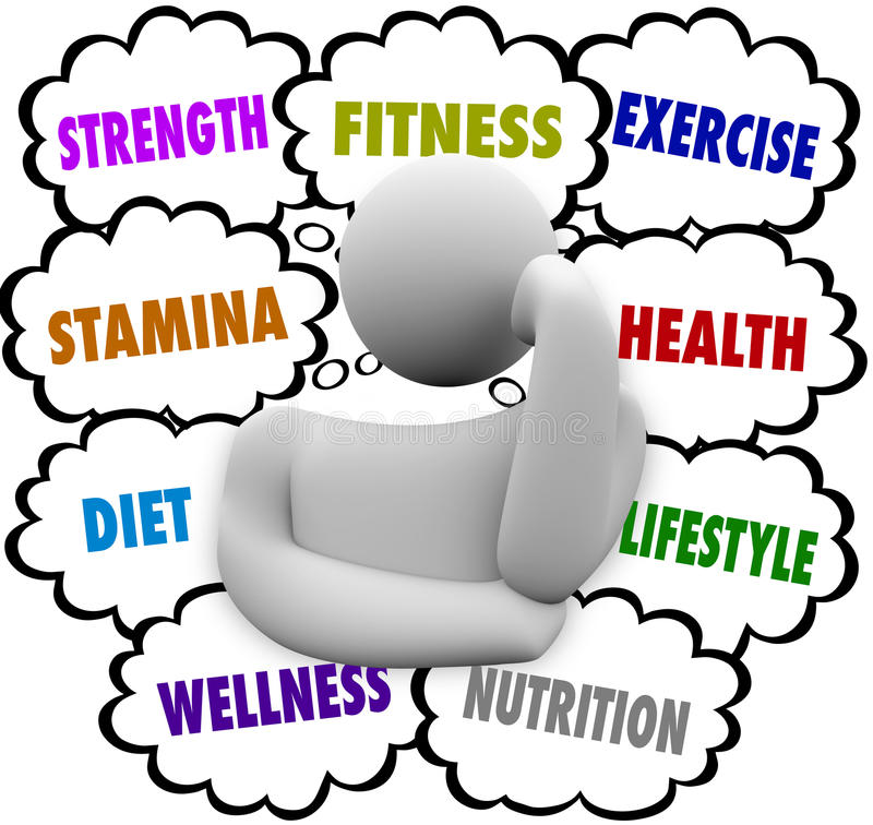 Fitness Words Person Thinking Exercise Diet Wellness Plan vector illustration