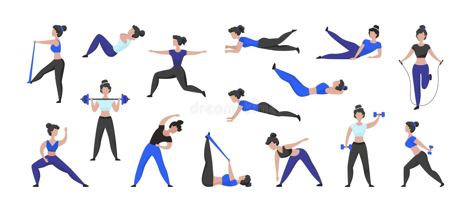 Fitness Workout Cartoon Woman Character Doing Sport Exercises And Training In Gym Isolated Female Character Vector Stock Vector Illustration Of Lunge Exercises 166725200