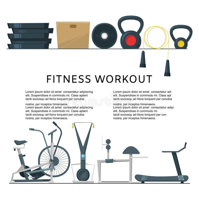 Fitness workout in club or center background banner vector illustration. Gym with crossfit, weights equipment and bike. Fitness machines for bodybuilding and royalty free illustration