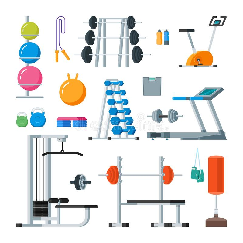 Fitness and workout exercise in gym. Vector set of icons flat style on white background. stock illustration
