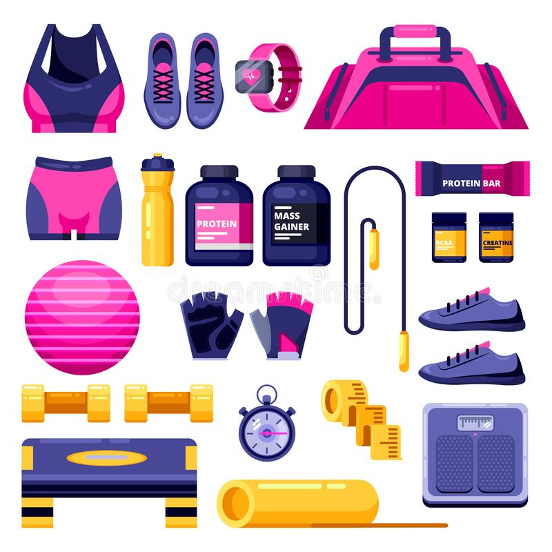 Fitness, workout and gym equipment. Vector flat isolated objects. Sports clothing, shoes and personal accessories icons. Fitness, workout and gym equipment set stock illustration