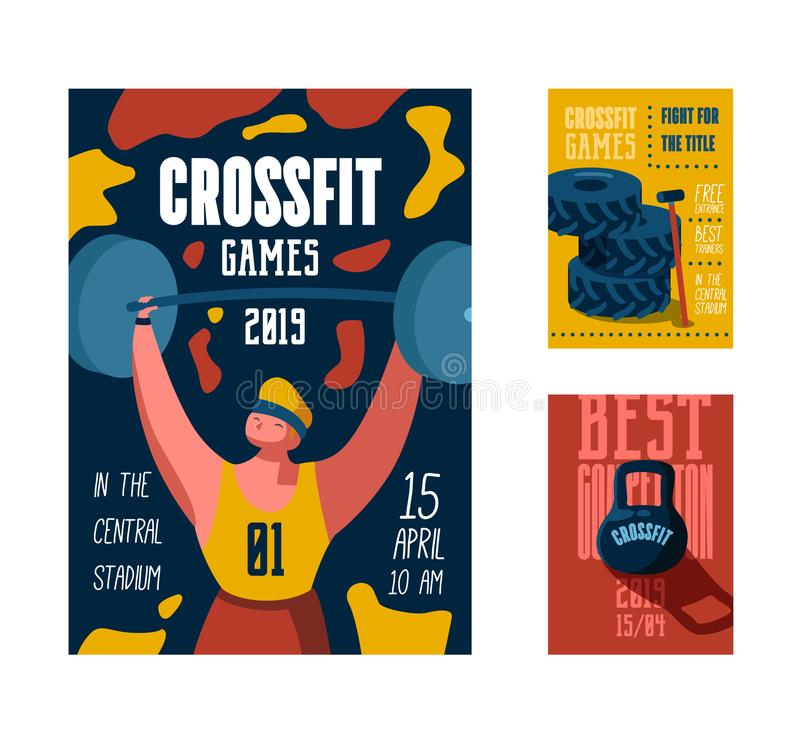 Fitness Workout Gym Poster, Placard, Invitation. Crossfit Banner, Flyer with Strong Man Character. Sport Event Design. Fitness Workout Gym Poster, Placard vector illustration