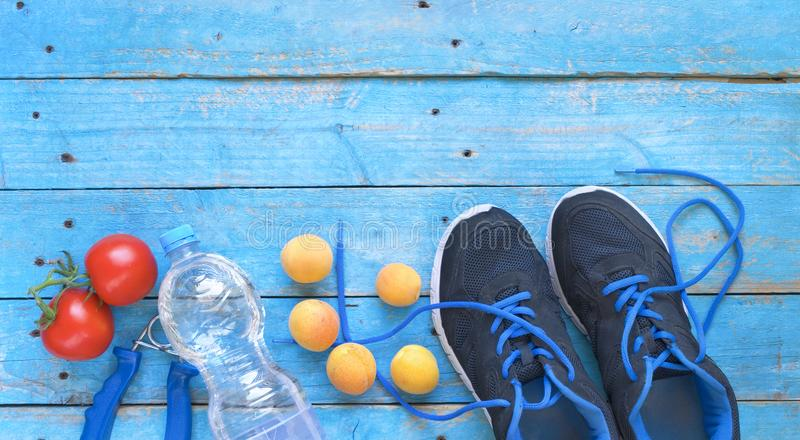 Fitness workout, running and reducing weight and healthy food co. Ncept,free copy space,flat lay stock photos