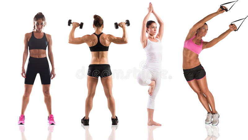 Fitness workout with women coach royalty free stock photography
