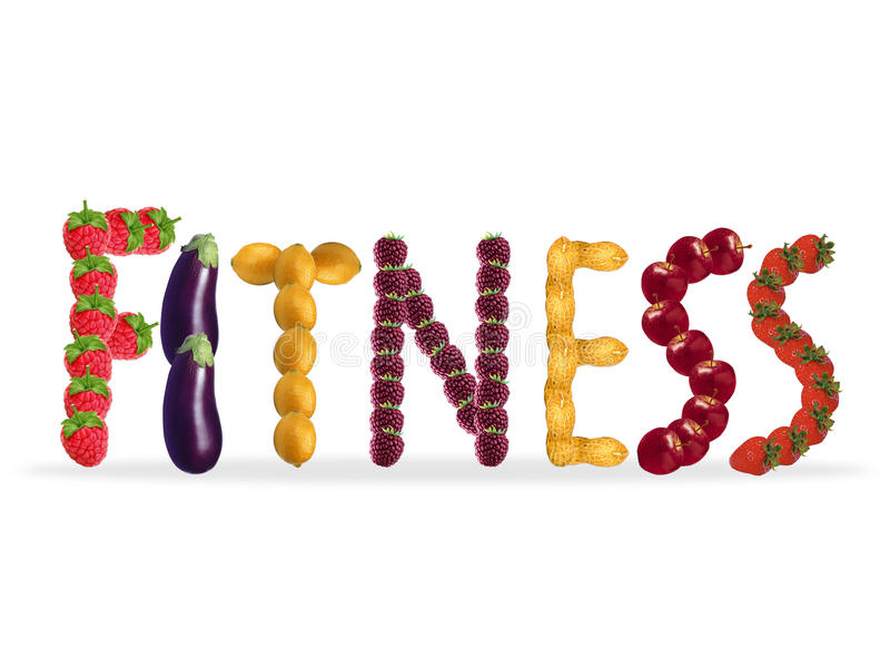 Fitness. Written with colorful food royalty free illustration