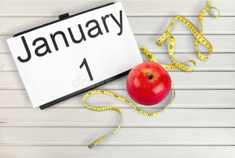 Fitness. Year diet health habit changing stock photo