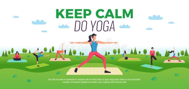 Fitness Yoga Composition horizontale illustration de vecteur