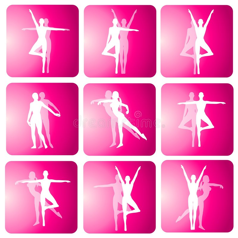 Fitness Yoga Dance Silhouette Icons