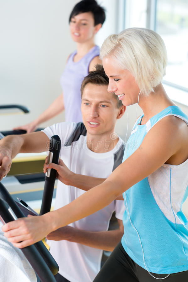 Download Fitness Young People On Treadmill Cardio Workout Stock Image - Image: 25165113