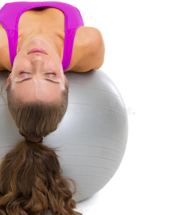 Download Fitness Young Woman Laying On Fitness Ball Stock Image - Image: 30254275
