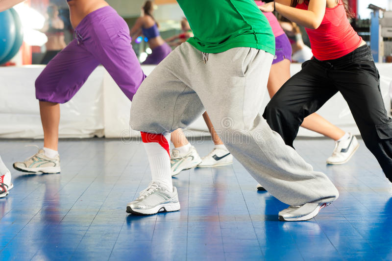 Fitness - Zumba dance training in gym royalty free stock photos