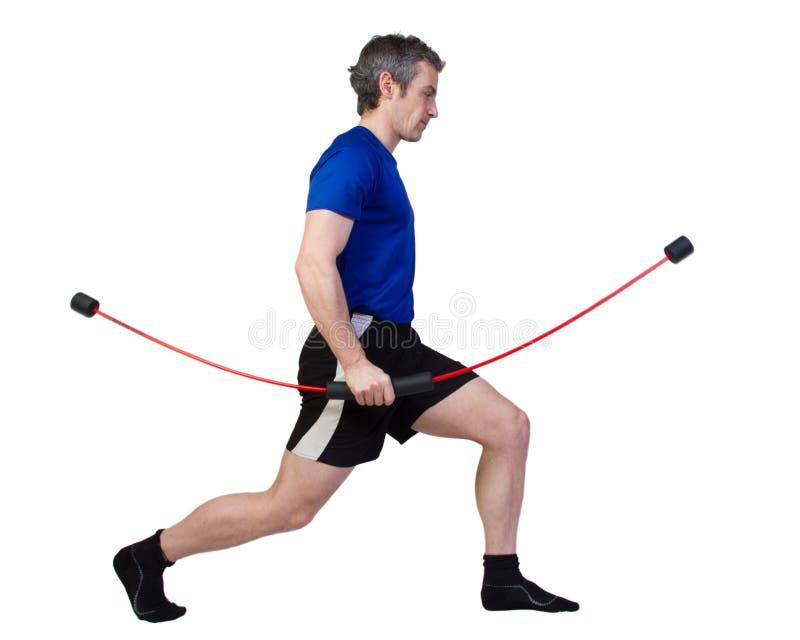 Fitnesstraing mit flexibar stockbild
