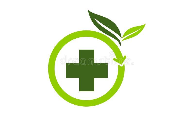 Fitoterapia Logo Design Template ilustração stock