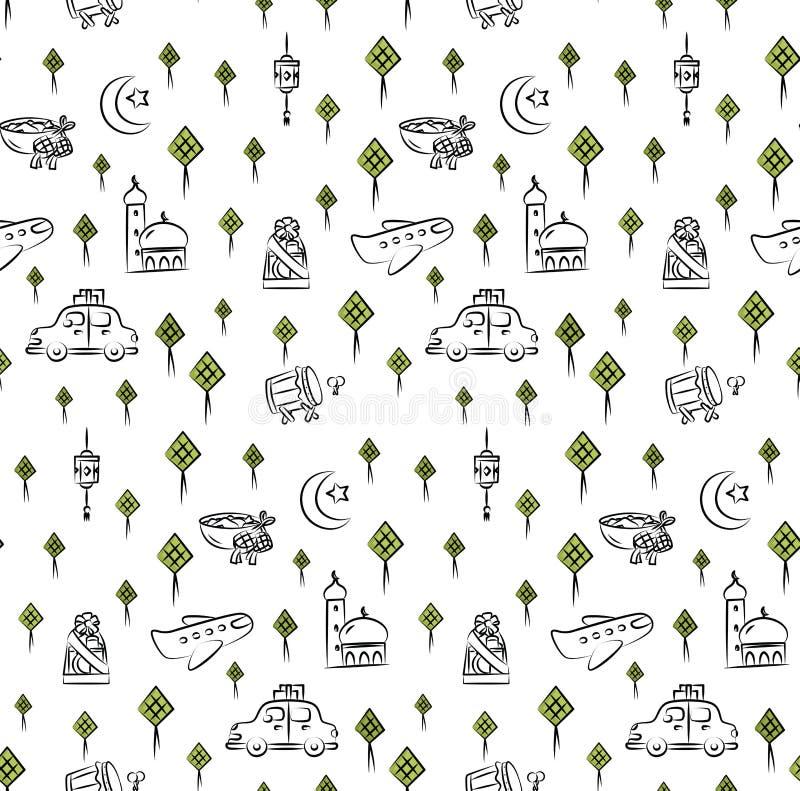 Fitr al Eid или предпосылка doodle мультфильма торжества ramadan для бесплатная иллюстрация