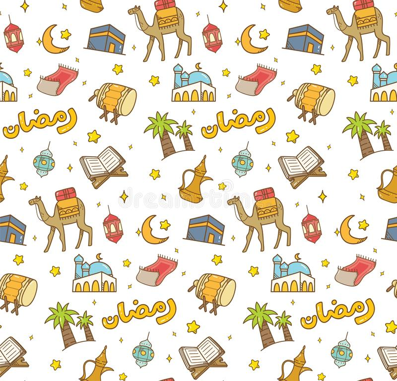 Fitr do al de Eid ou fundo da garatuja dos desenhos animados da celebra??o de ramadan para ilustração royalty free