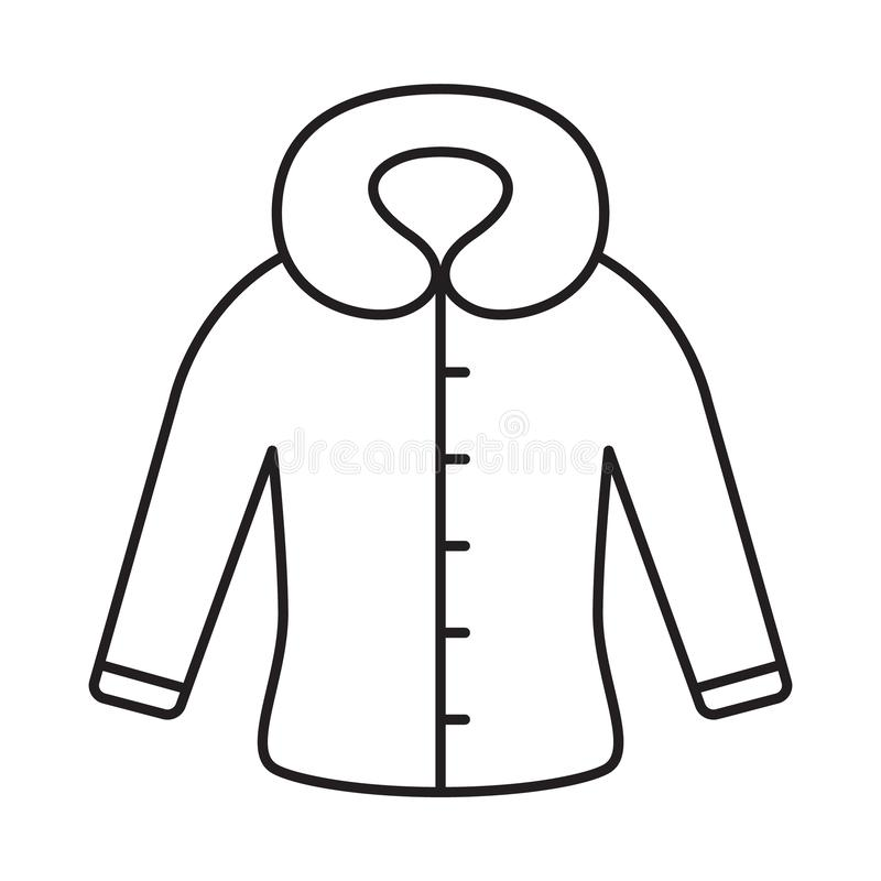 Fitted coat with hood or fur collar icon. Thin line art template for winter clothes. Black and white illustration. Contour hand royalty free illustration