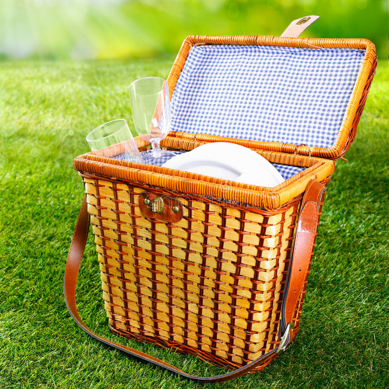 Fitted wicker picnic basket or hamper. Standing on fresh lush green grass with the lid open displaying a pretty blue and white checked lining with plates and royalty free stock image