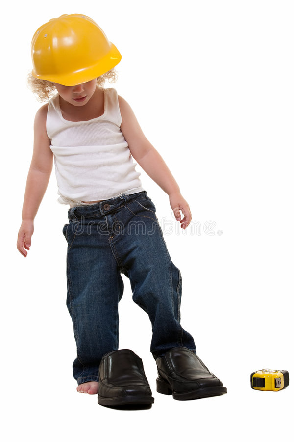 Fitting dads shoes royalty free stock image