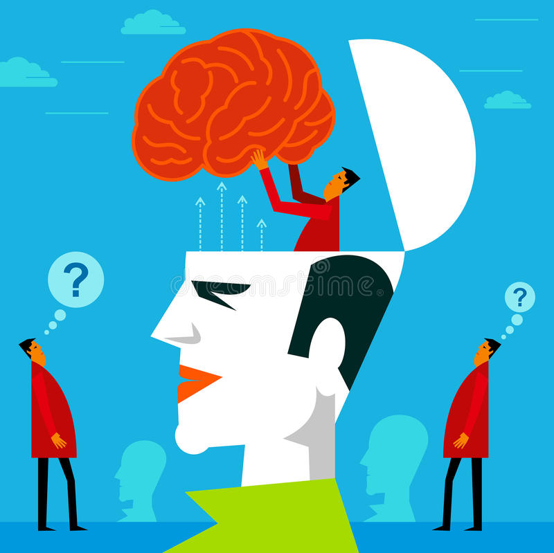 Fitting a mind in human head royalty free illustration