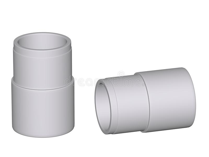 Fitting - PVC connection coupler. Isolated on white background Used to install plumbing and heating pipes made of polypropylene 3d stock image