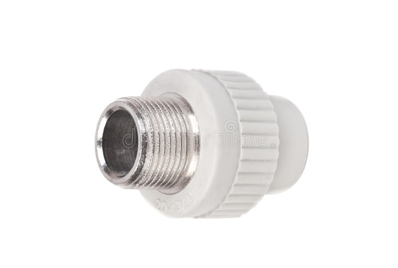 Fitting - PVC connection coupler to connect polypropylene tubes. Isolated on a white stock image