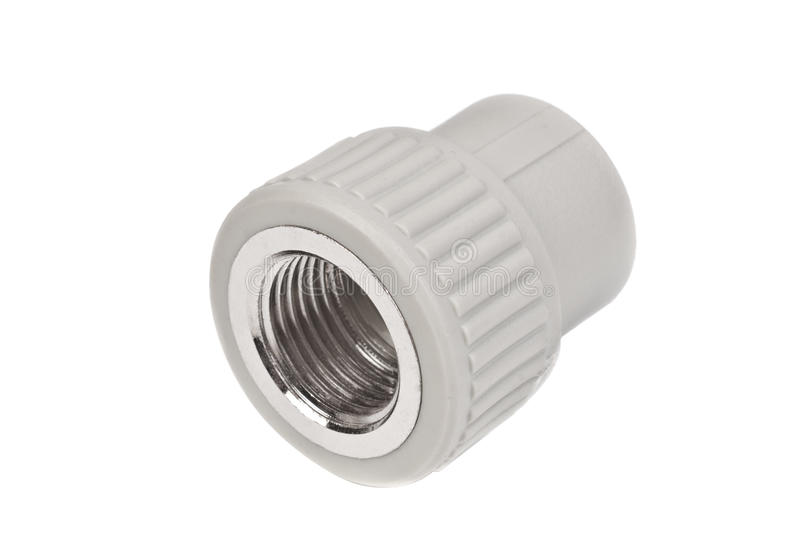 Fitting - PVC connection coupler to connect polypropylene tubes, isolated on a white. Background royalty free stock photos