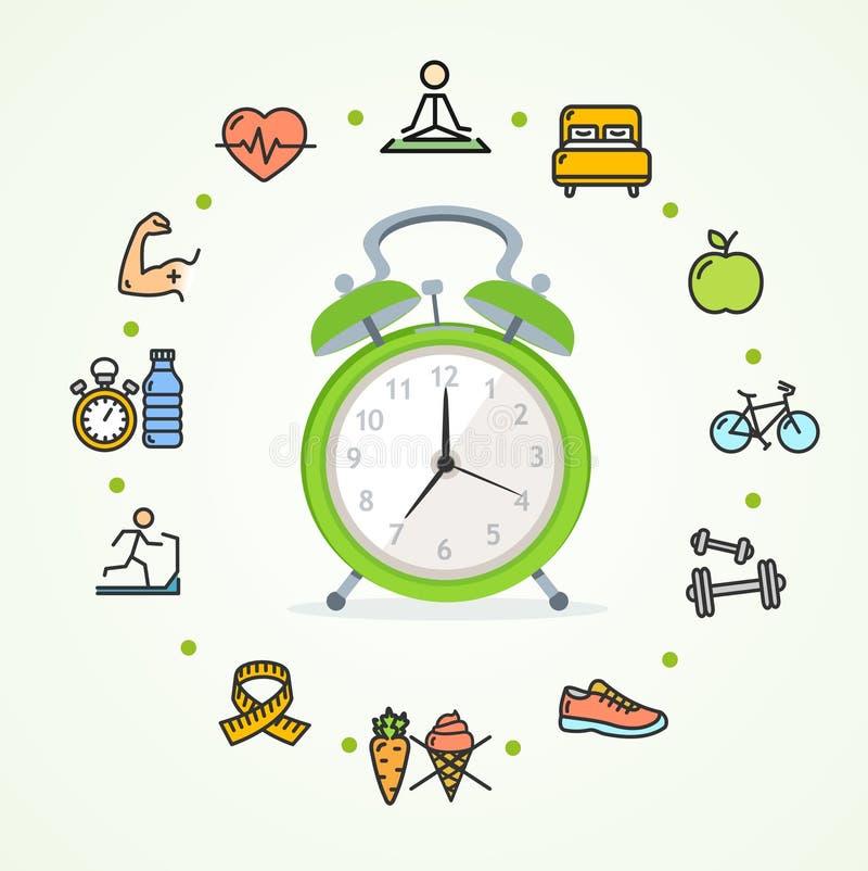 Fittness-Konzept-gesundes Leben des täglichen Lebens Vektor lizenzfreie abbildung