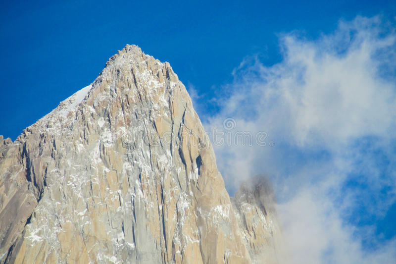 Fitz Roy mountain peak top. Fitz Roy mountain summit peak in Patagonia Andes at clear sunny day stock images