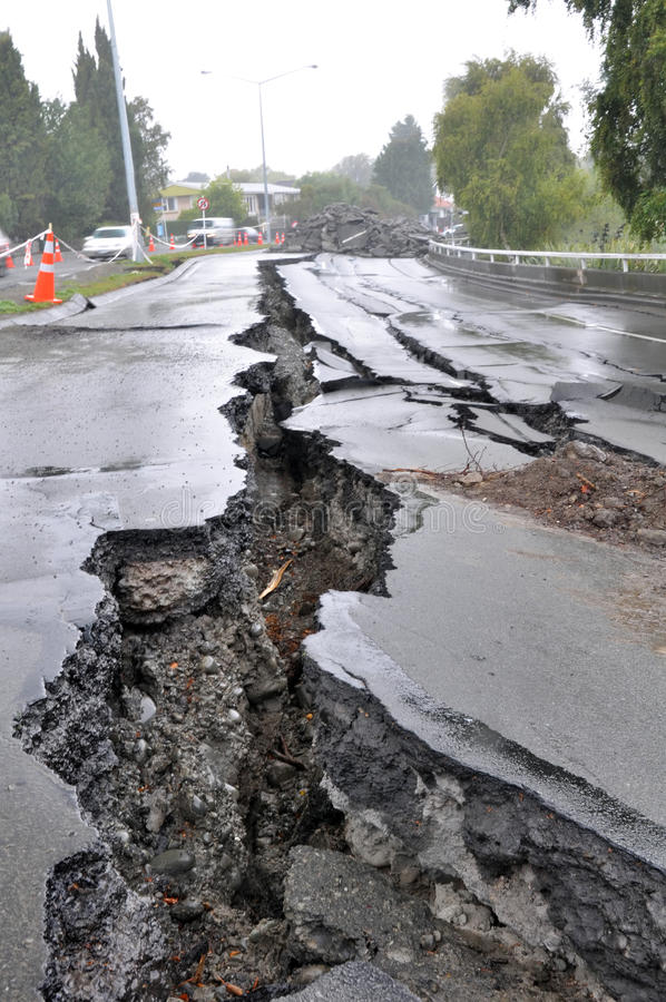 fitzgerald землетрясения christchurch моста бульвара стоковые изображения