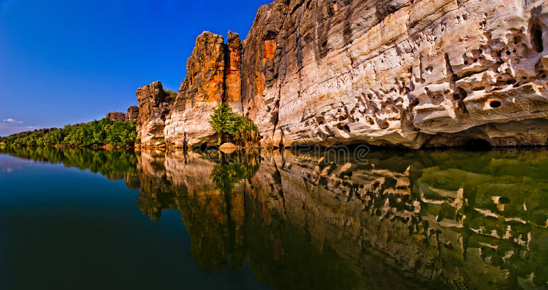 Fitzroy Rive and Geikie Gorge. The Fitzroy River is located in the West Kimberley region of Western Australia. Geikie Gorge National Park is a national park in stock photo